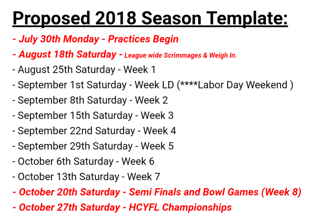 Here Is The Proposed Schedule Template For The Upcoming 2018 Season. Start  Planning Now! Football And Cheer Camp Dates Will Be Set Soon!
