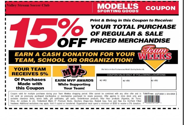 photograph relating to Modells Printable Store Coupon titled Valley Circulation Football Club - Driven by way of SportsSignUp Enjoy