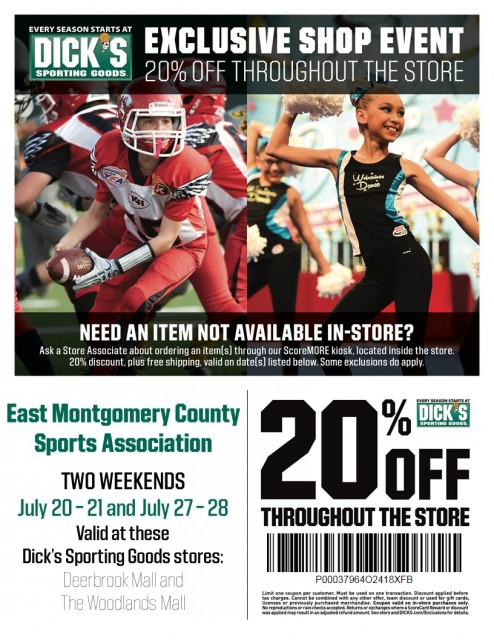 89c461521ac Dick's Sporting Goods and East Montgomery County Sports Association have  partnered up for the 2019 Football/Cheer season. As part of the partnership  all ...