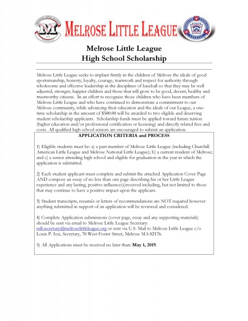 melrose little league   powered by sportssignup play melrose little league is proud to announce we will be offering the st  annual mll scholarship to a graduating high school senior in